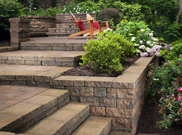 Backyard steps with garden beds in between.