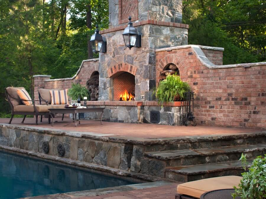 45 Beautiful Outdoor Fireplace Ideas | Install-It-Direct on Simple Outdoor Brick Fireplace id=95220