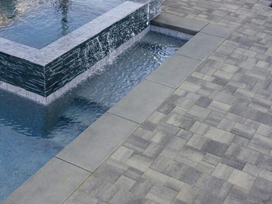 These Grey And Cream Slip Resistant Pavers Are Great For Any Pool Patio  Area.