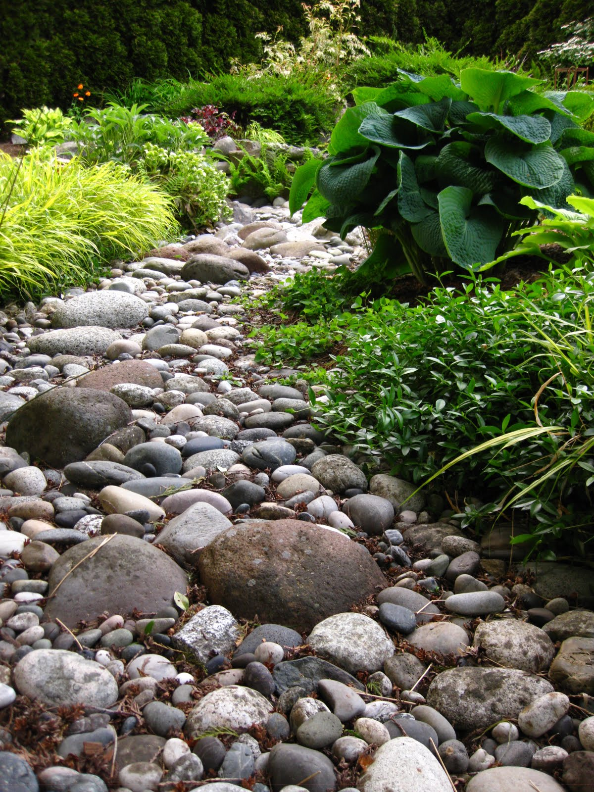 River rock on pinterest river rocks river rock for Garden designs using pebbles