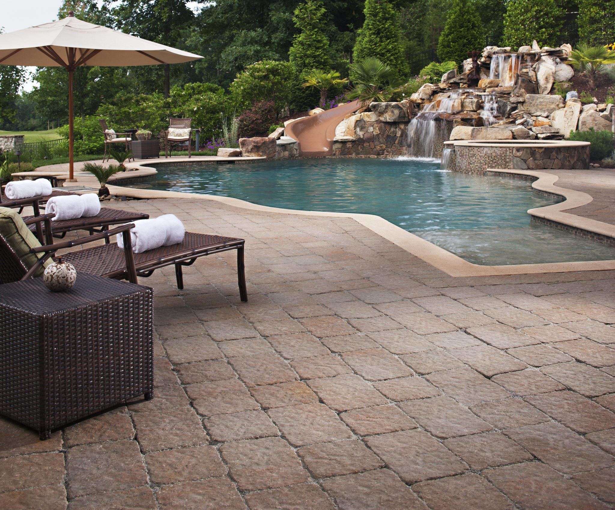 pool deck materials: paving stones