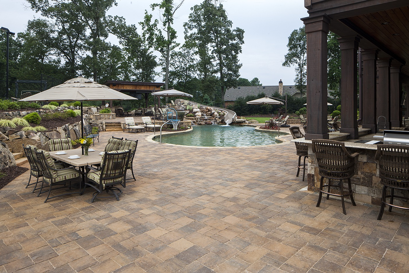 pool deck materials: pavers