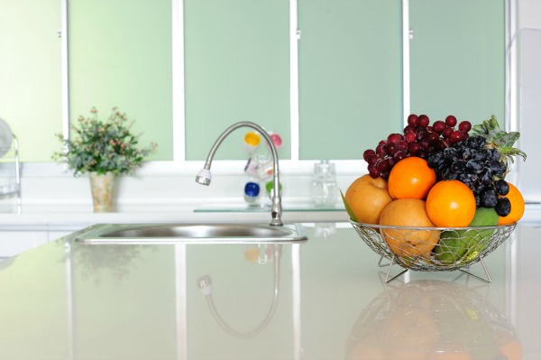green kitchen cleaning with baking soda