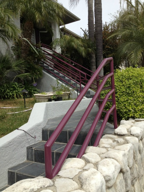 the same metal railing with a fresh coat of paint