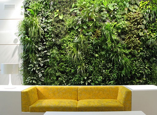 green vertical wall