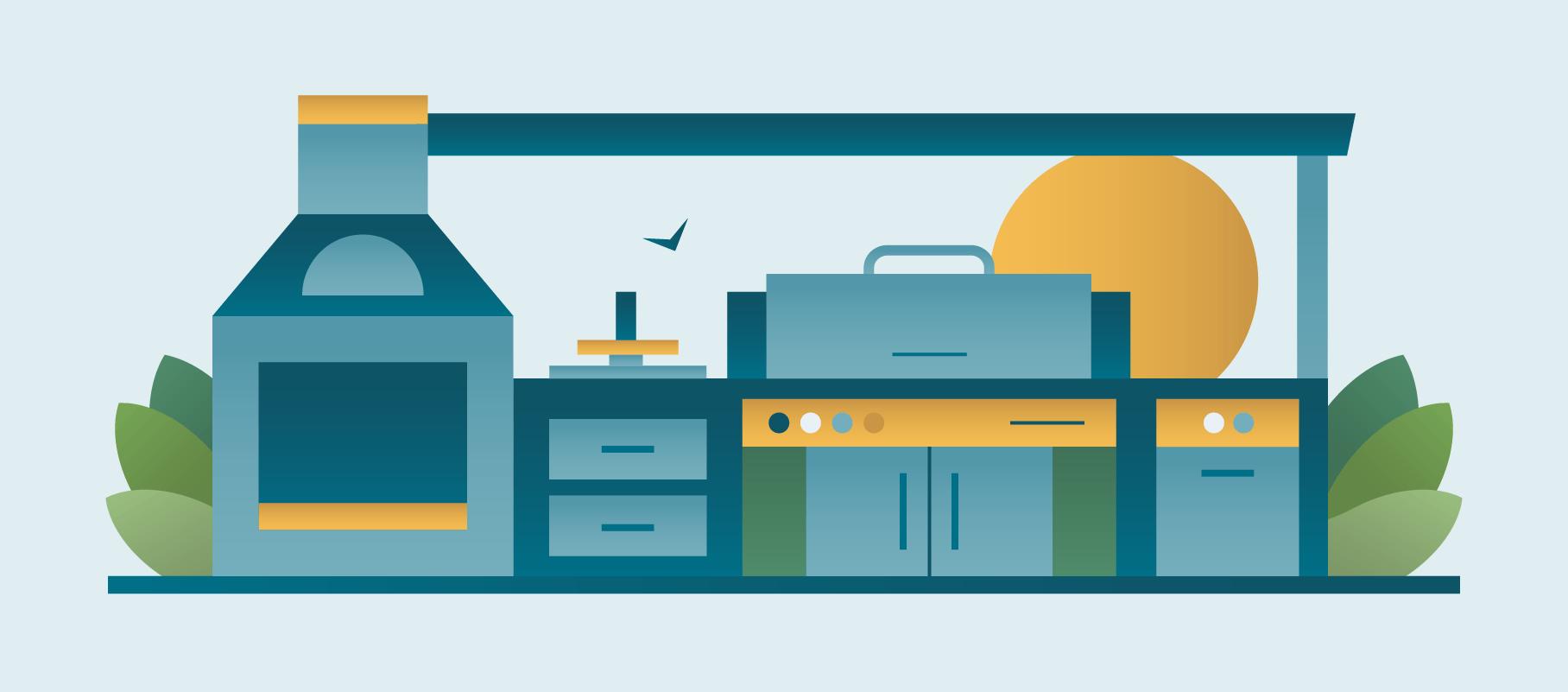 Luxury Outdoor Kitchen Illustration