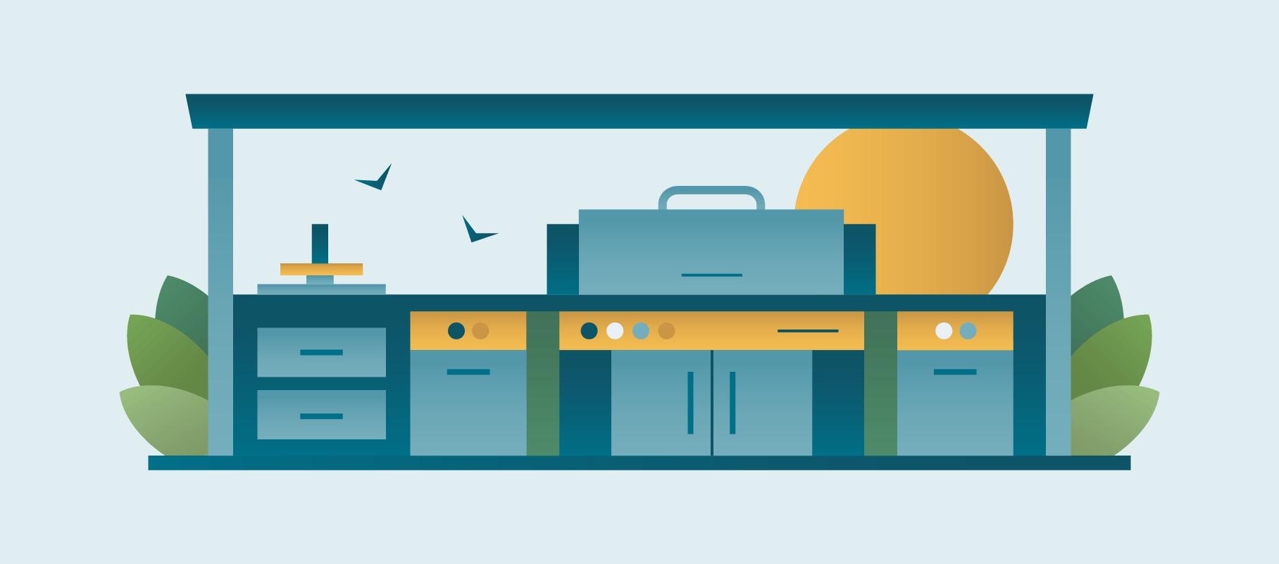 Moderate Outdoor Kitchen Design Illustration