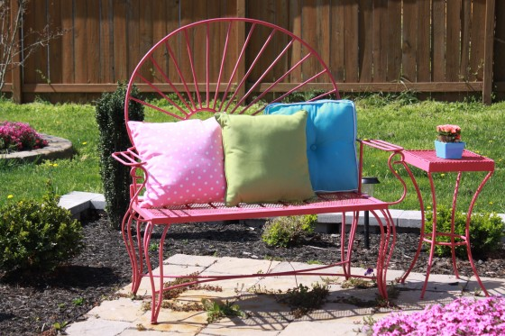 Bold paint colors bring new life to old patio furniture.