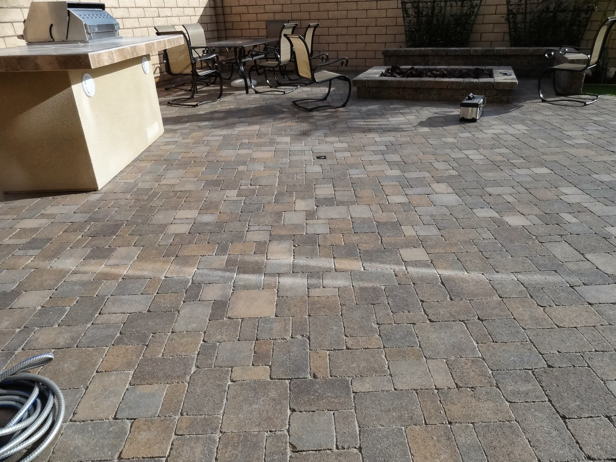 Reflection on pavers from low energy efficient windows