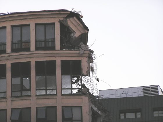 Crumbling Building After Earthquake