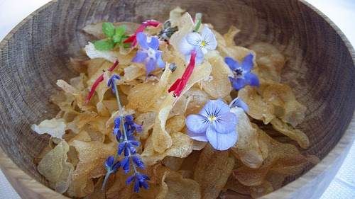 edible flowers on potato chips