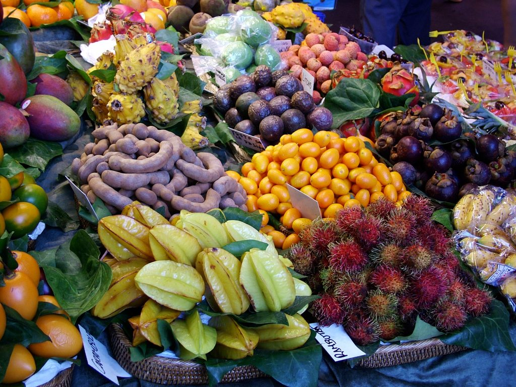 a variety of exotic fruit