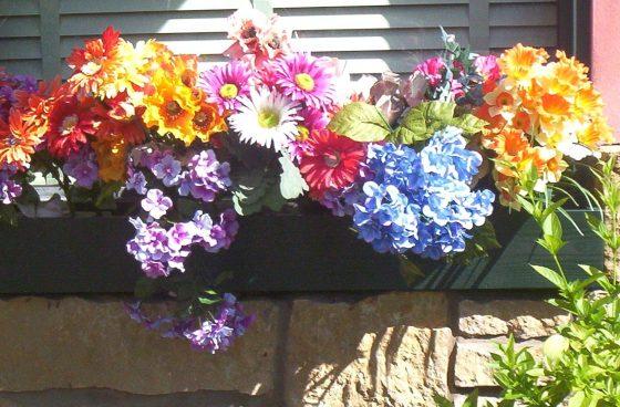 Low-Maintenance Window Box with Fake Flowers