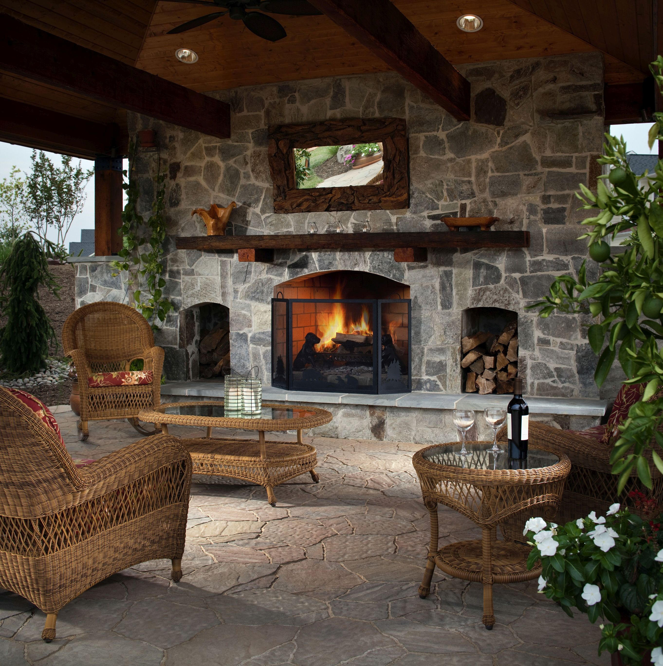 How to make your backyard feel like a resort install it for Outdoor room with fireplace