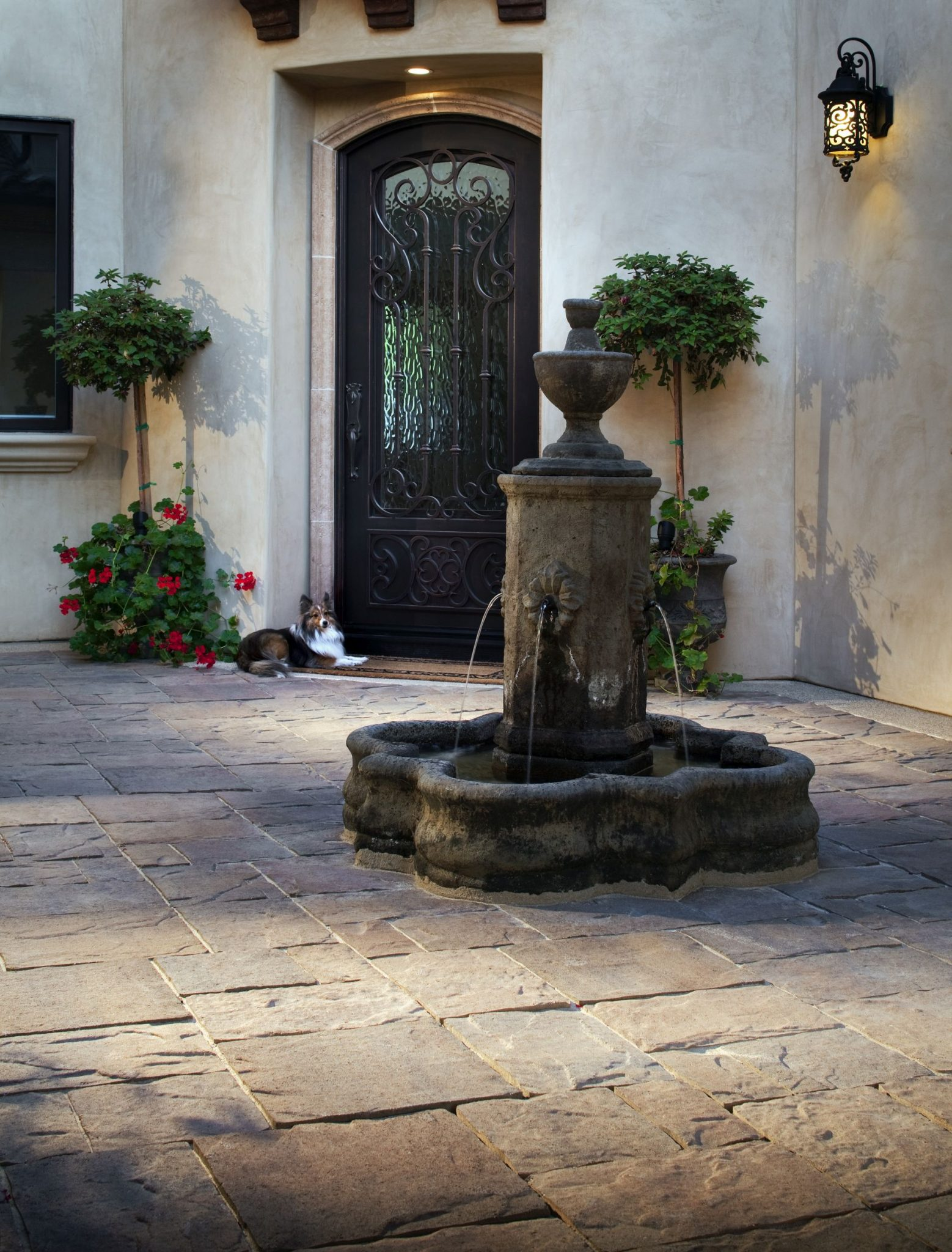 Fountains can block unwanted noise.