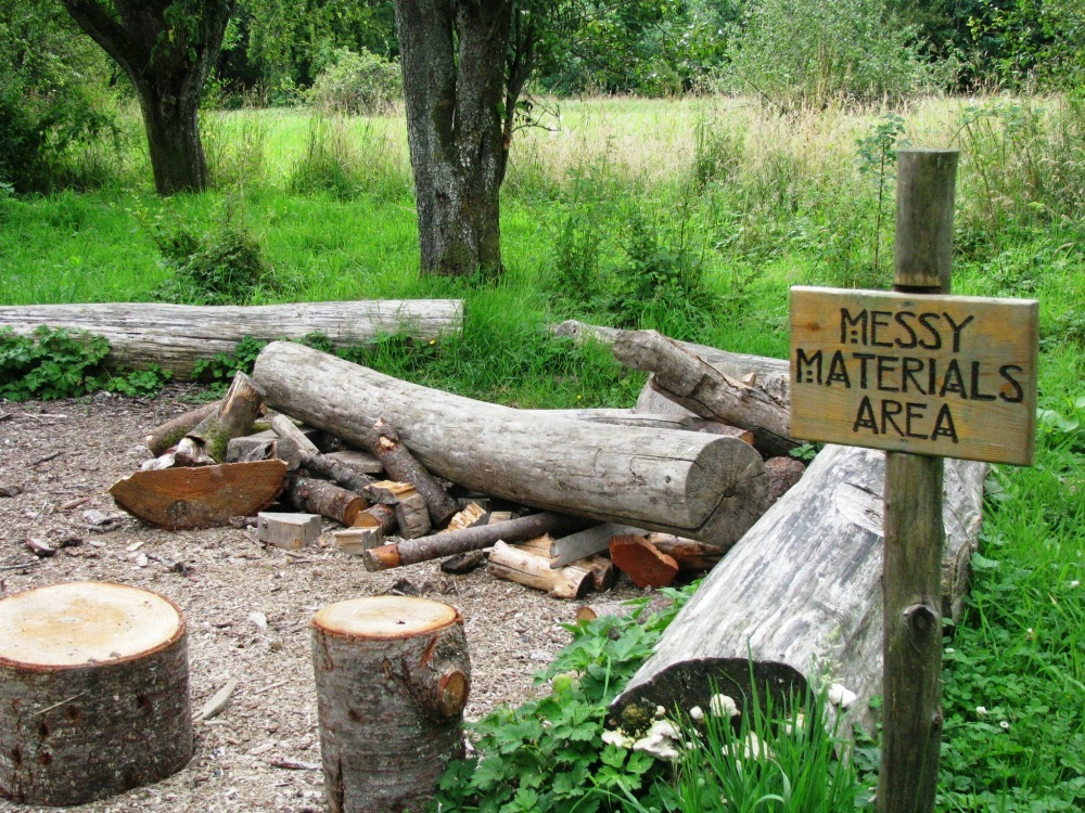 loose logs in a natural playspace