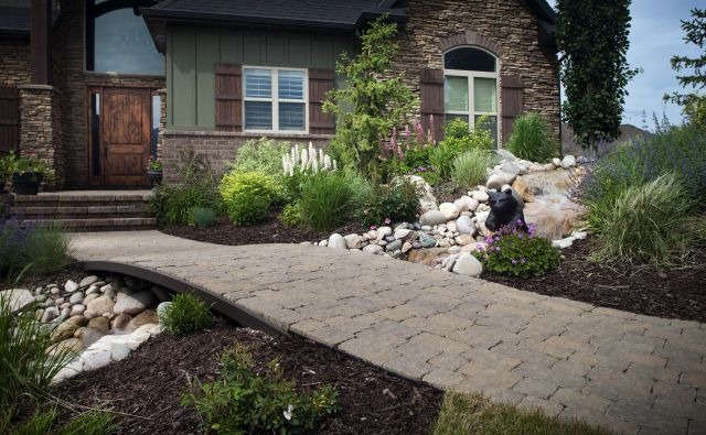 Paving Stone Walkway with Grass and Low-Water Plants