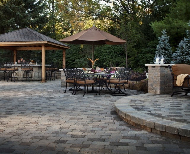 Grass Free Backyard with Paving Stone Patio