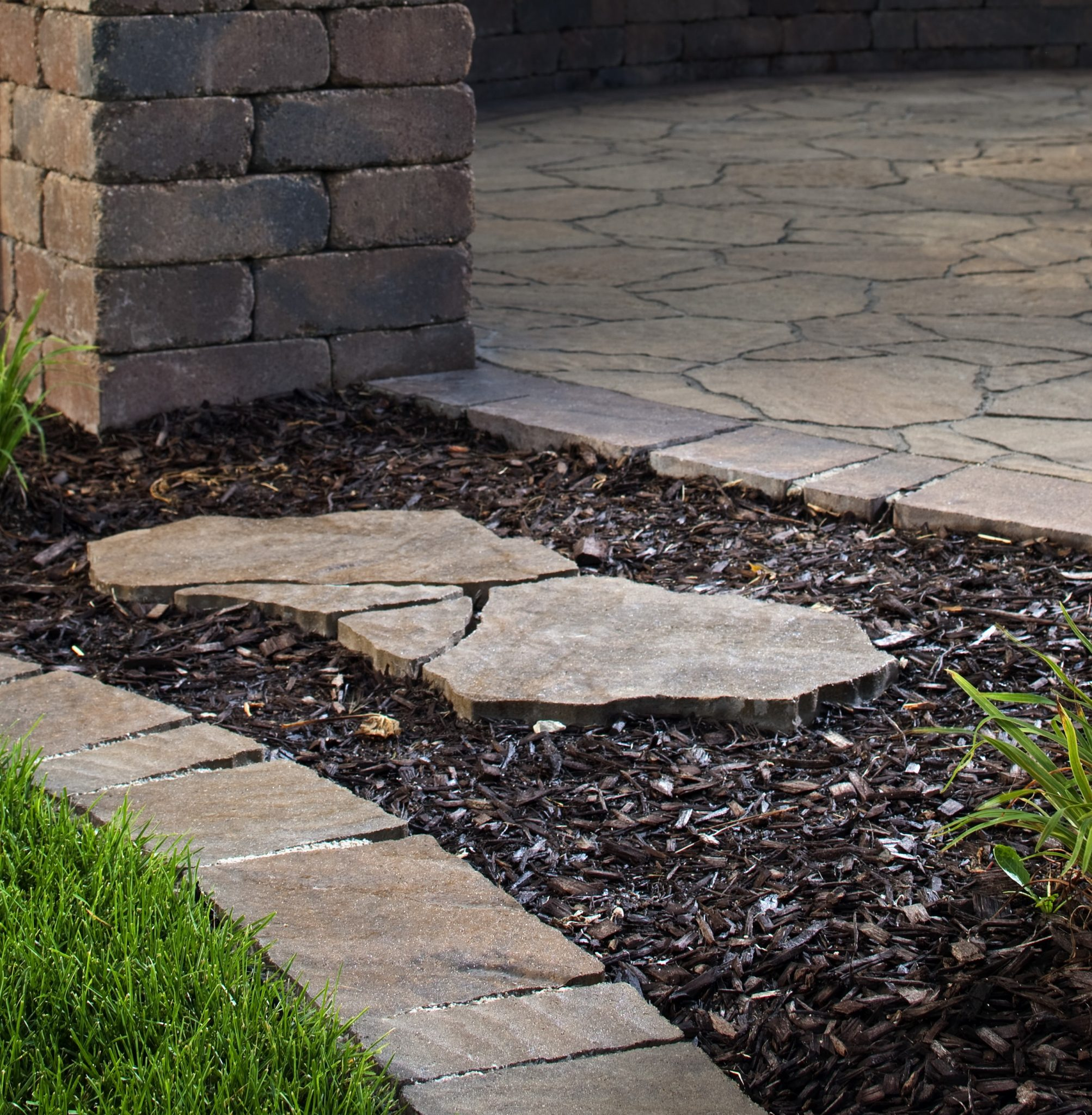 Garden edging using concrete pavers.