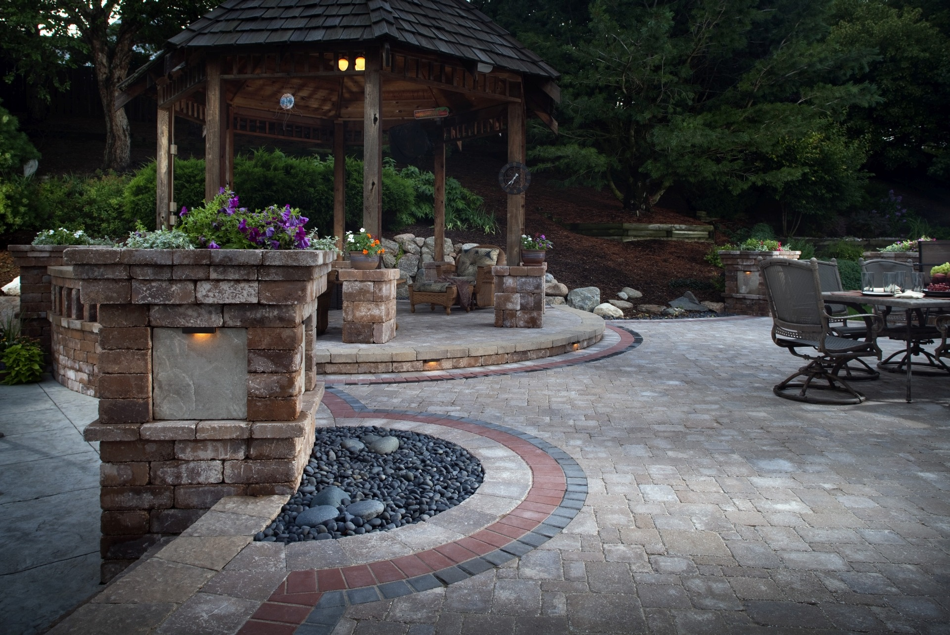 Paving Stone Patio with Seating Areas