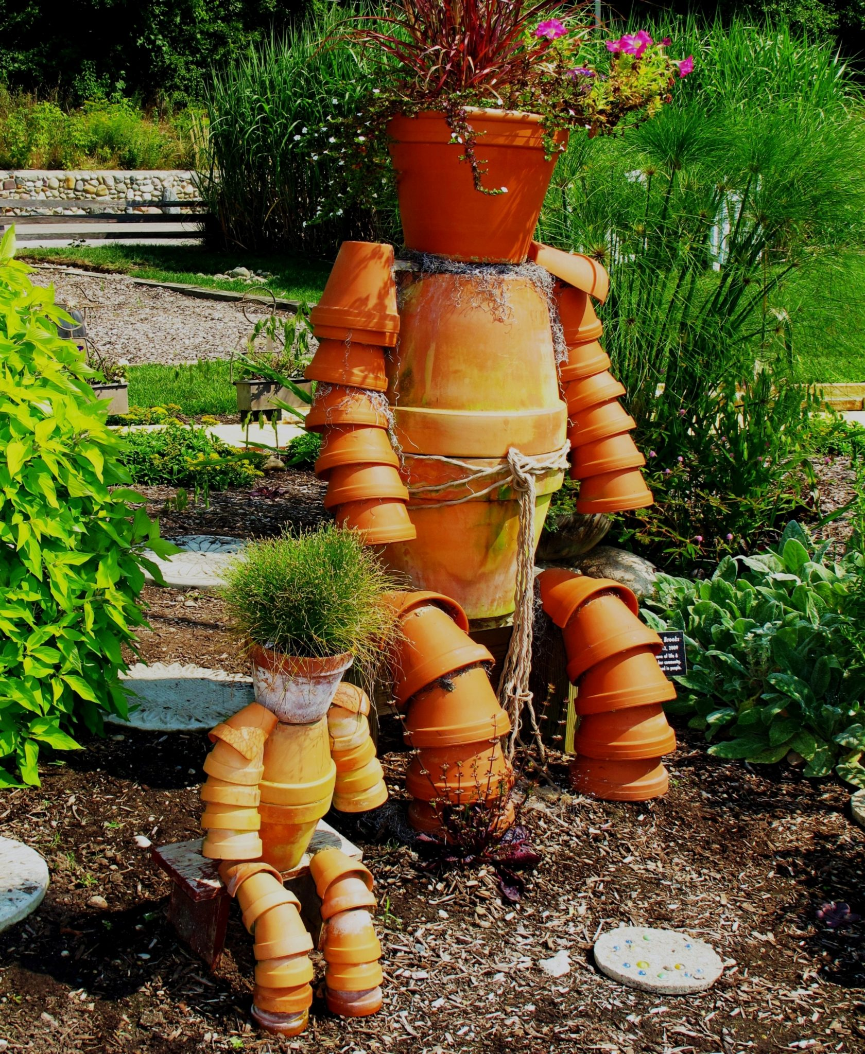 Garden Art from Repurposed Pots
