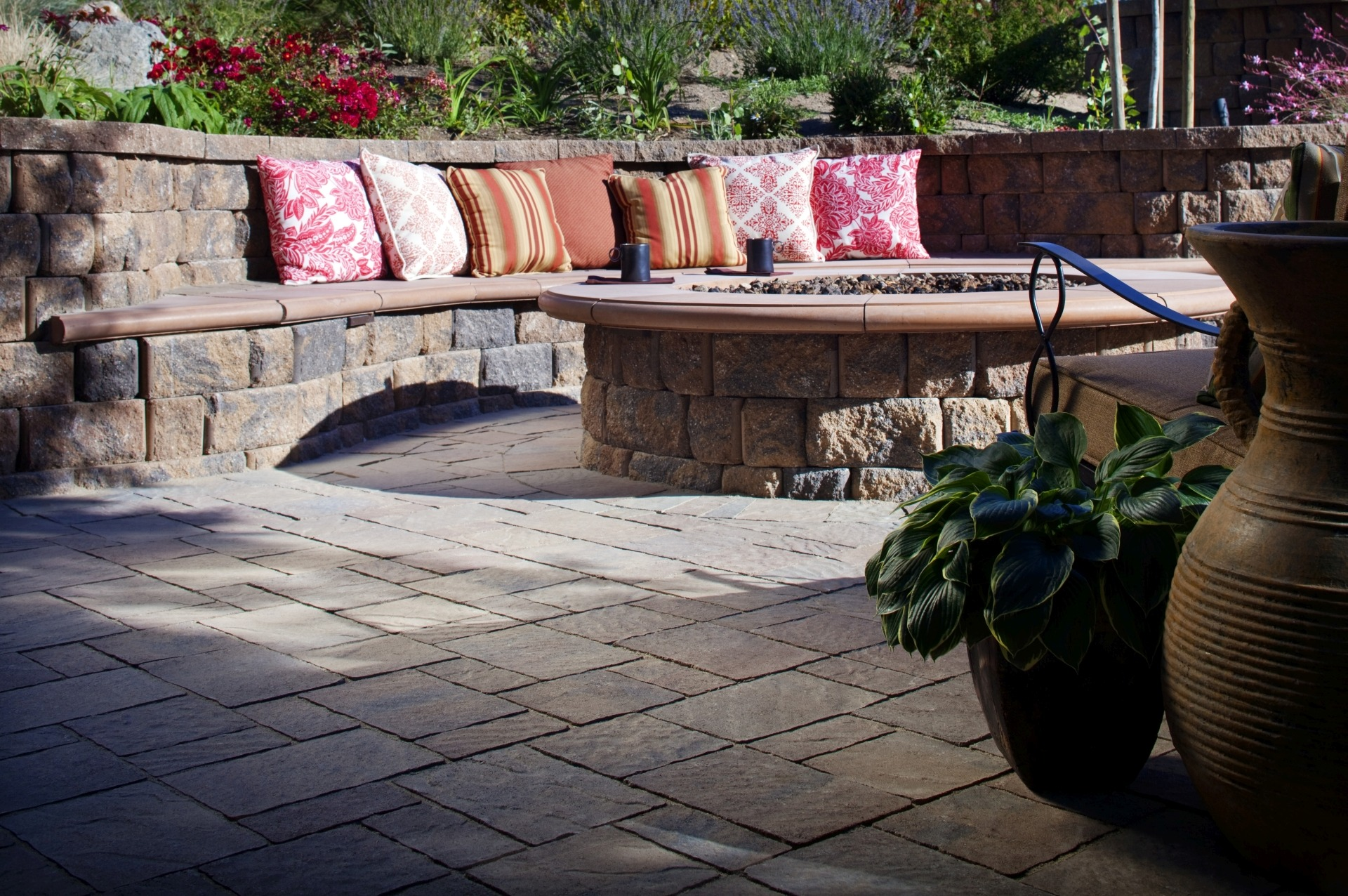Paving Stone Patio with Fire Pit