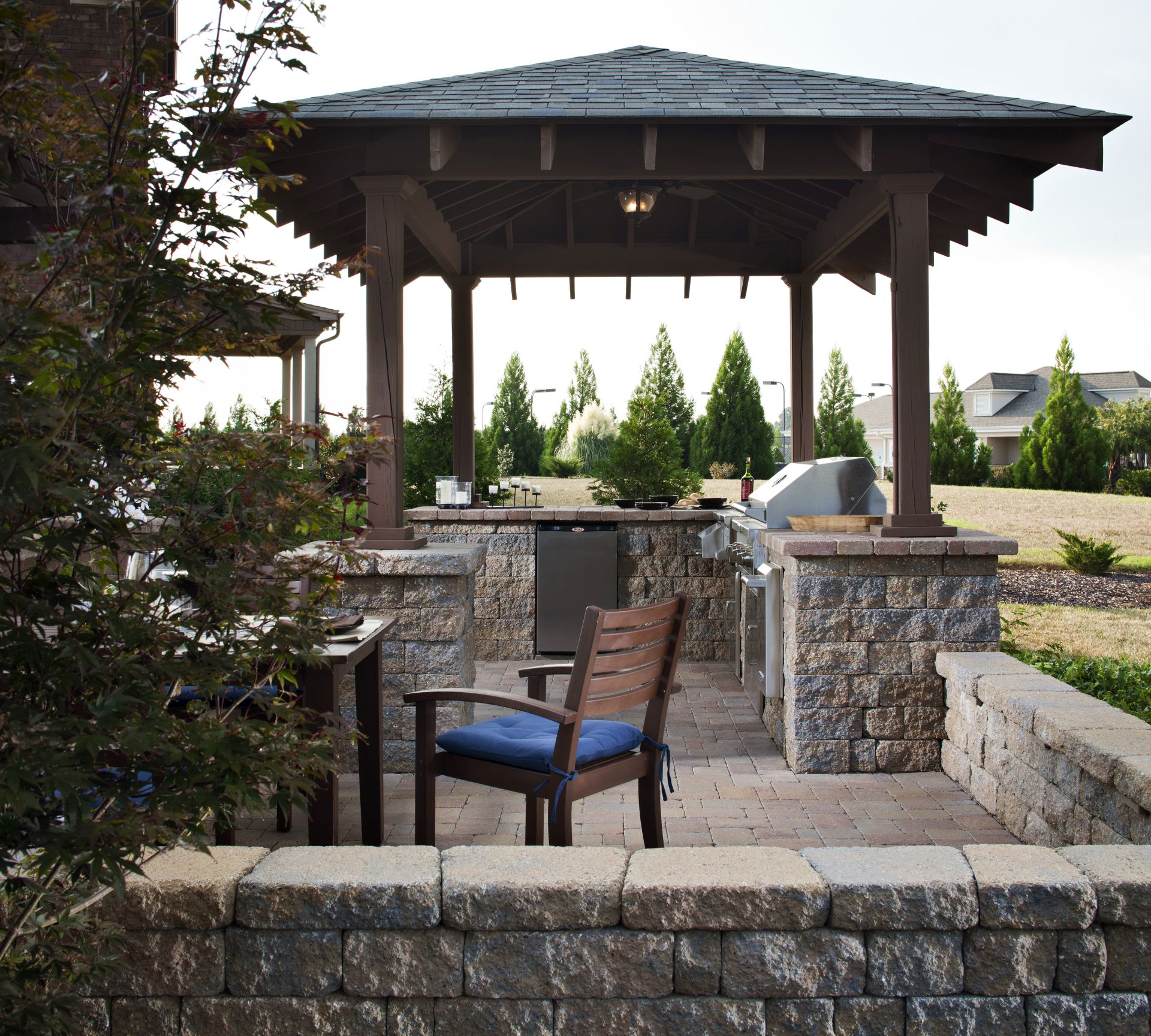Paving Stone Countertops in Outdoor Kitchen