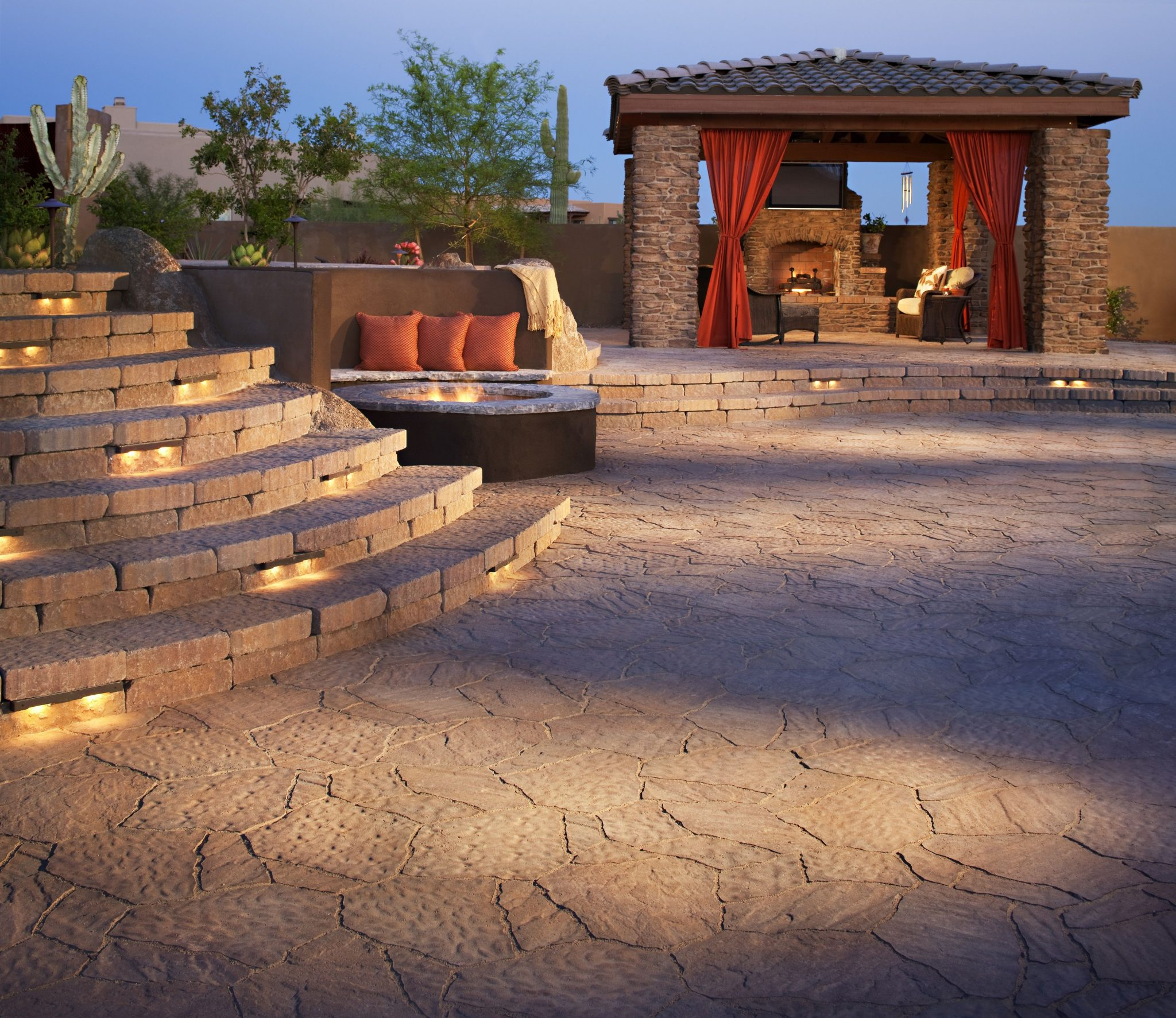Downlighting on Paving Stone Steps