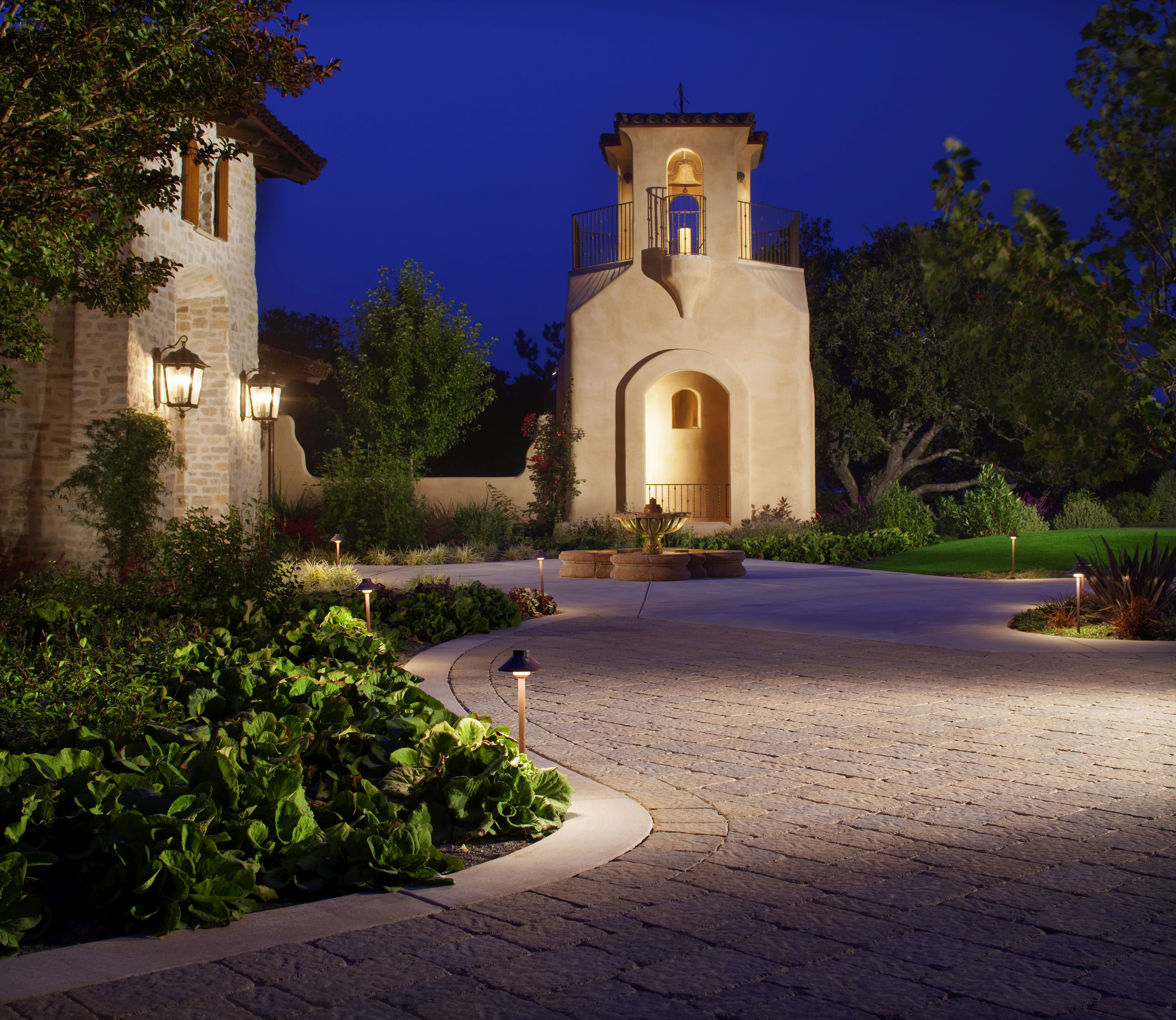 Paving Stone Driveway with Landscape Lighting