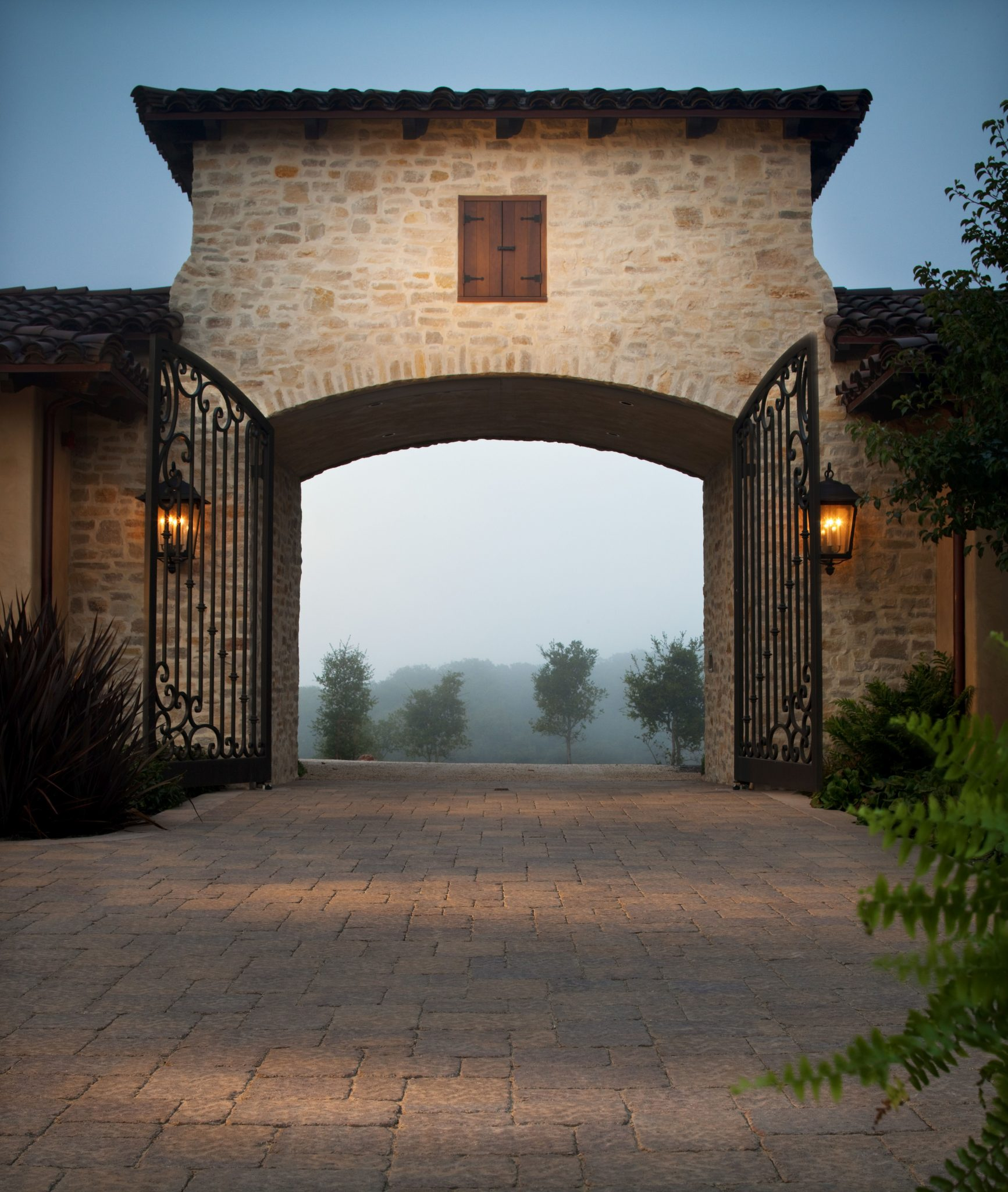 Gated Entrance with Outdoor Lights
