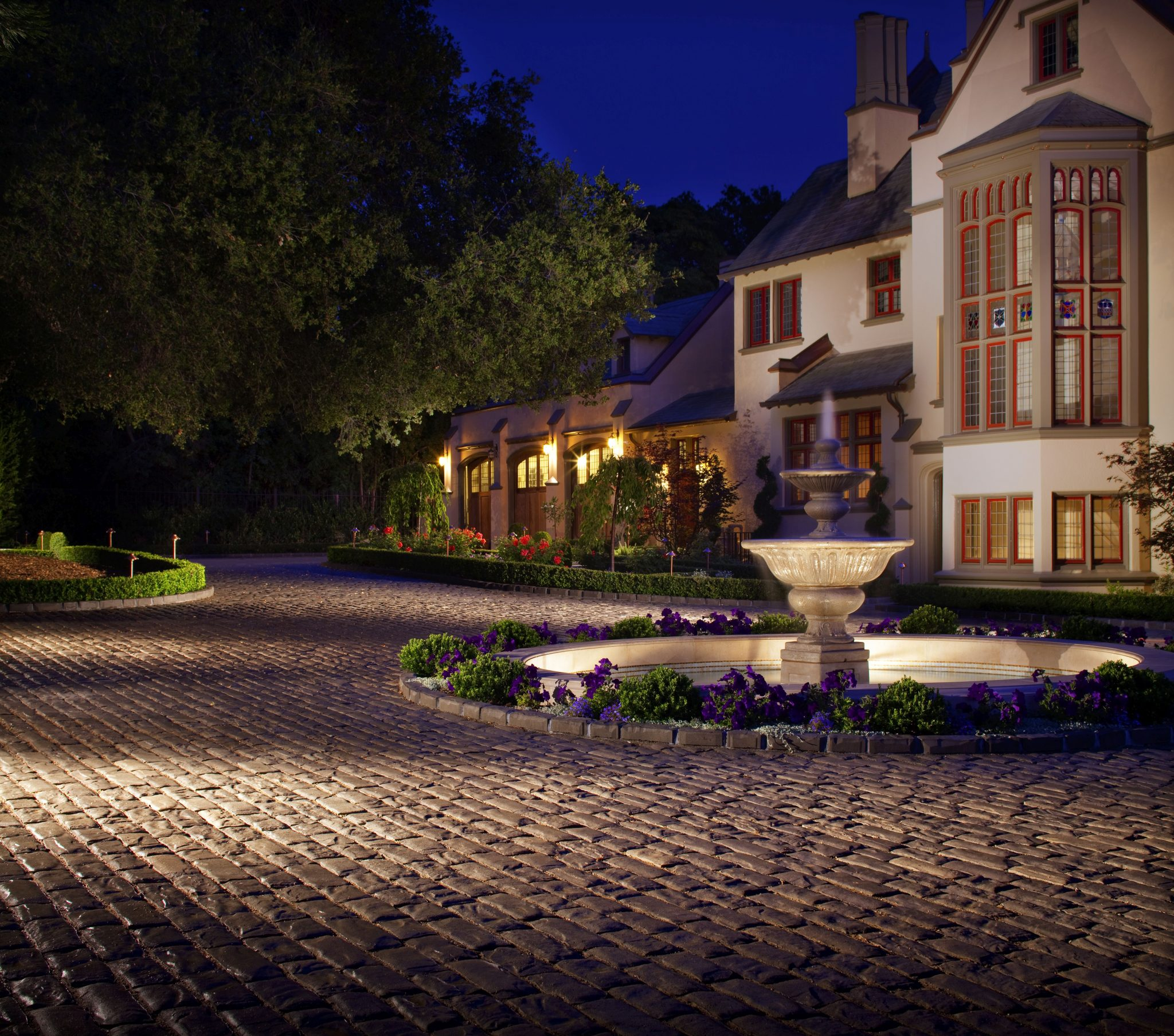 Paver Driveway with Fountain and Landscape Lights