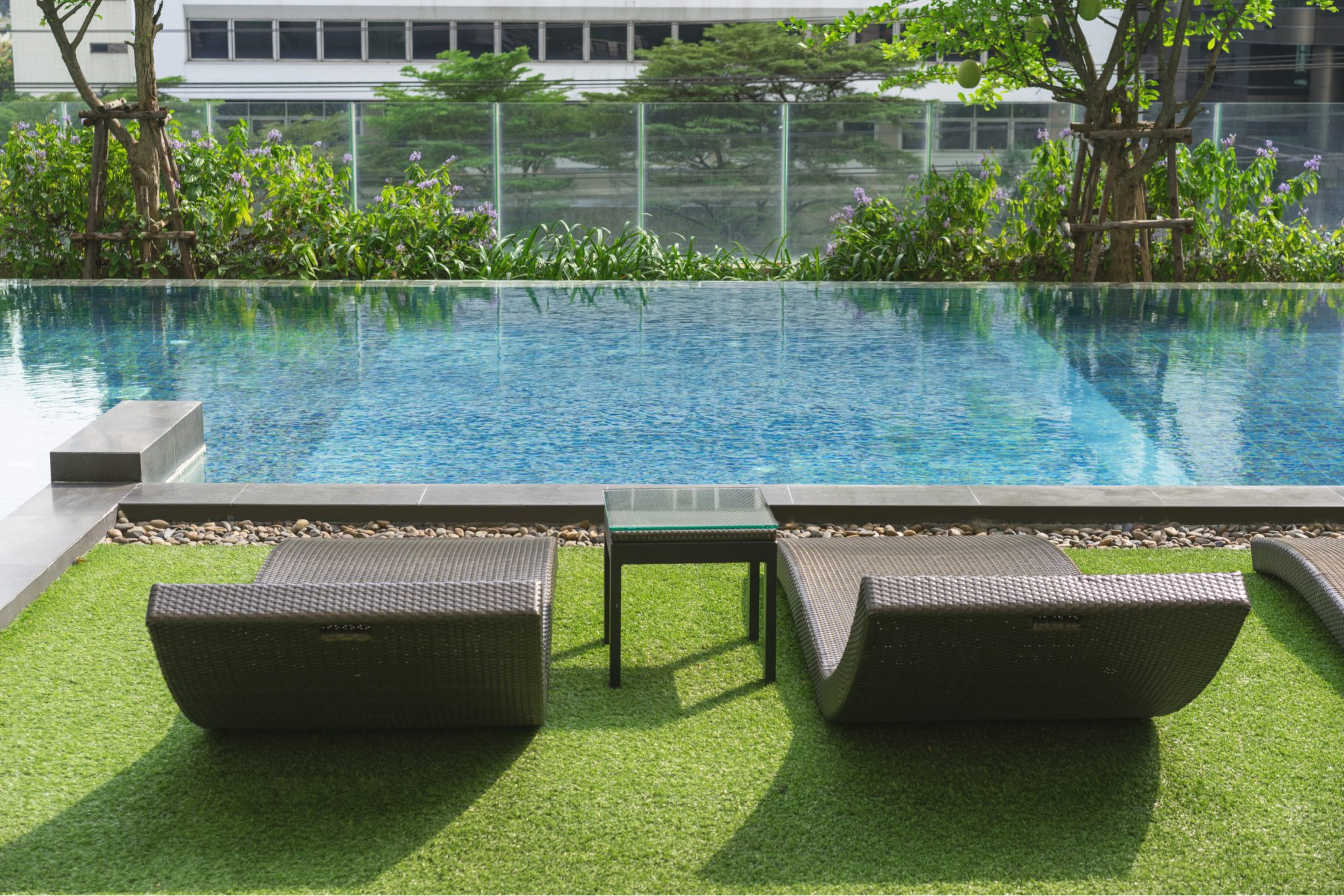 synthetic grass pool areas