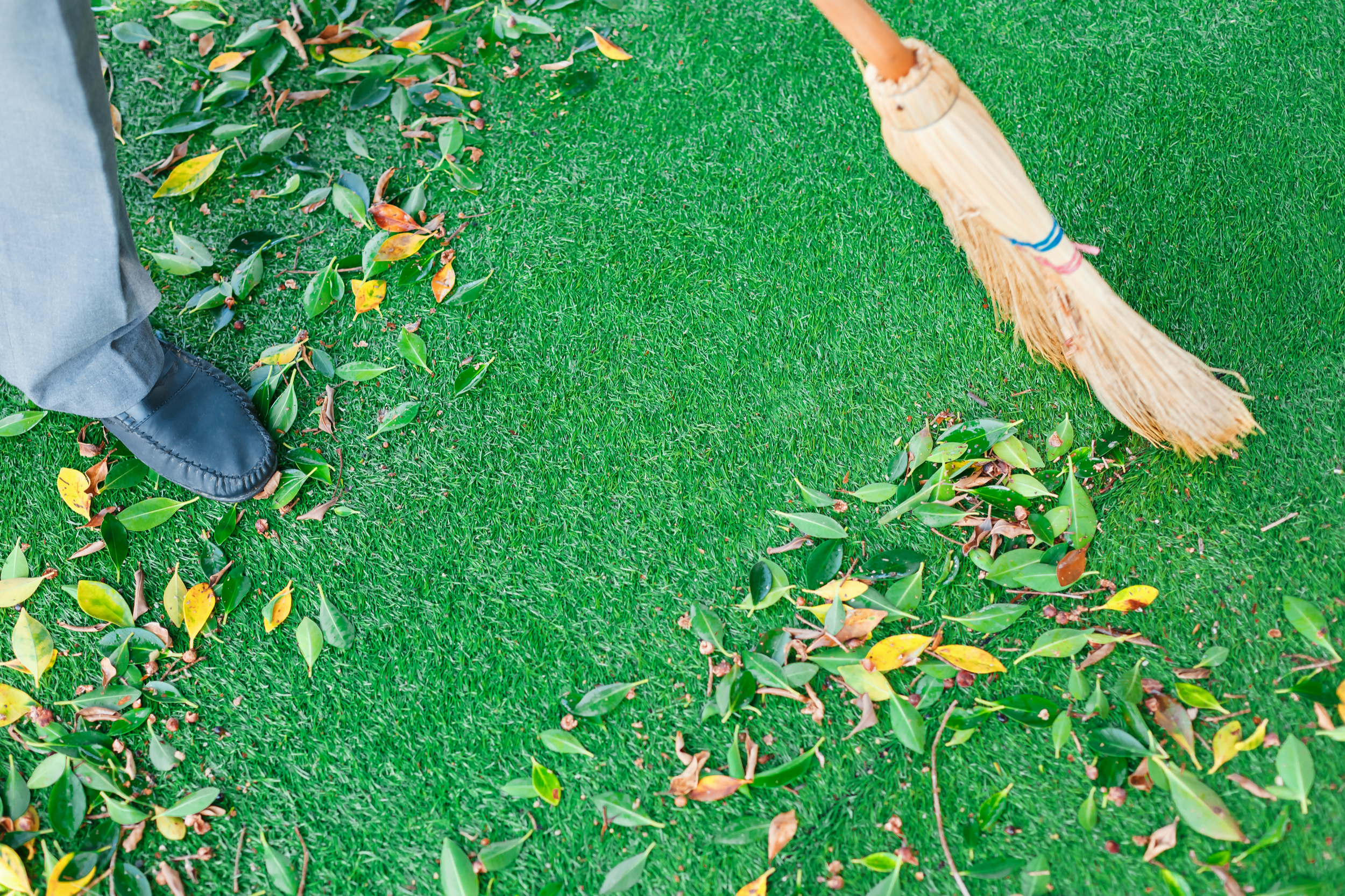 Man sweeping leaves off of artificial turf