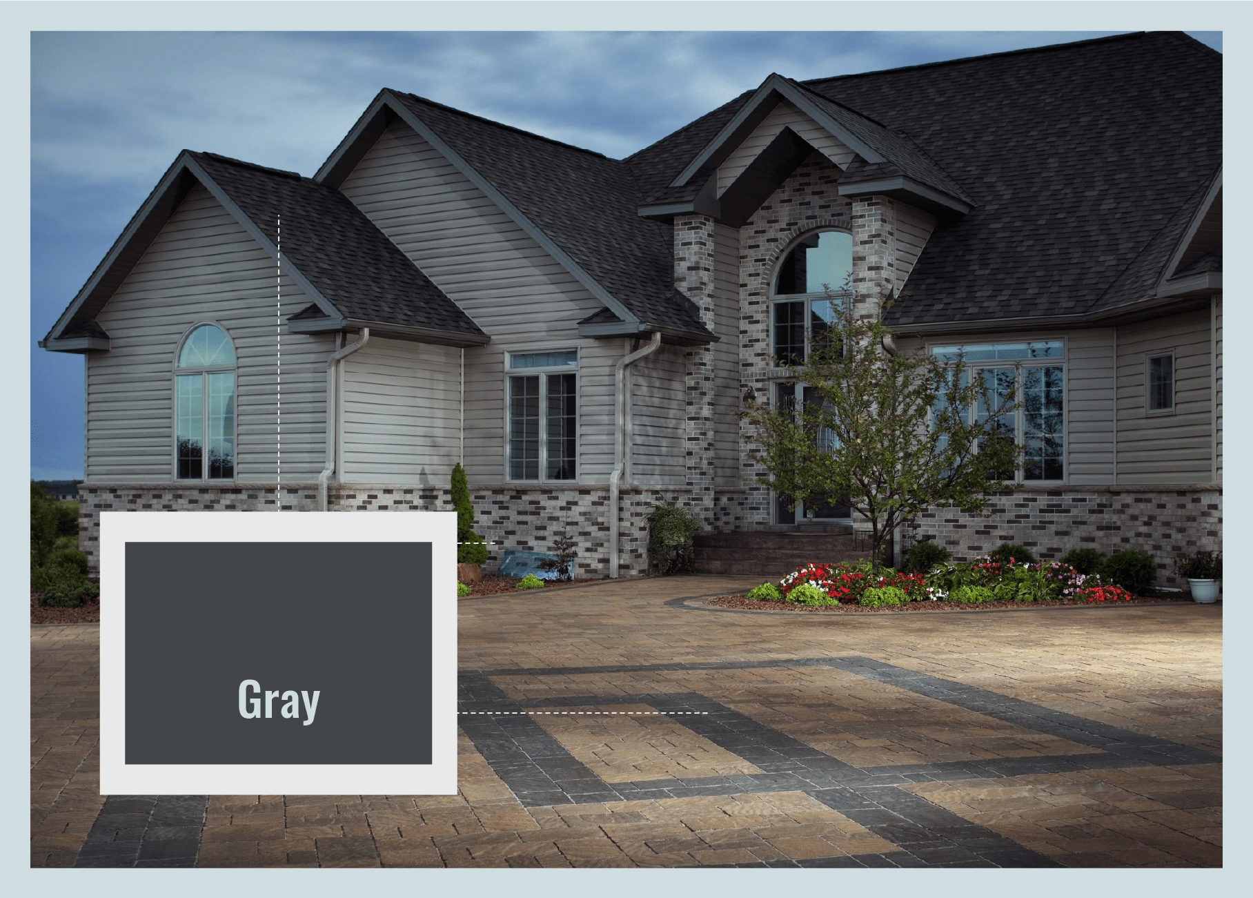gray accent pavers matched with roof
