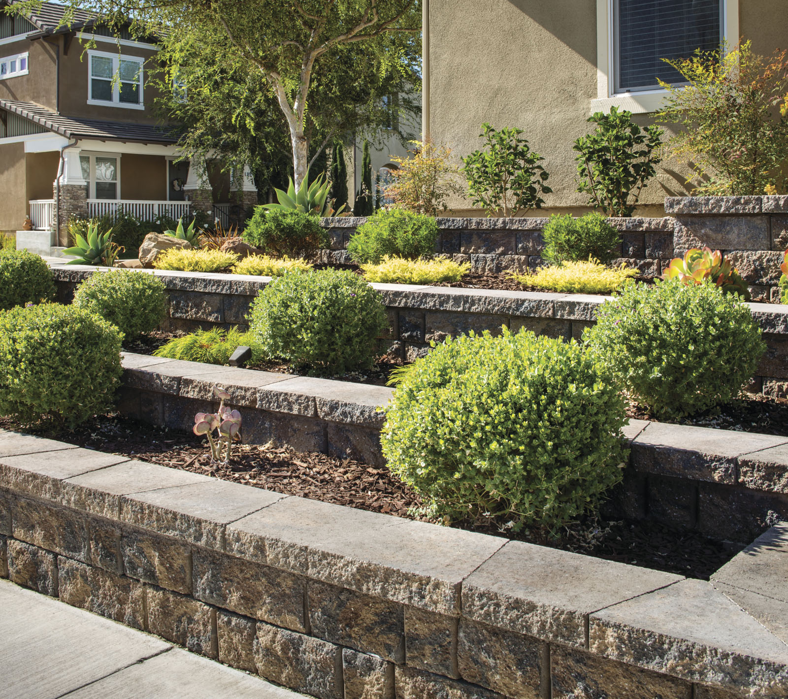 terraced paving stone walls