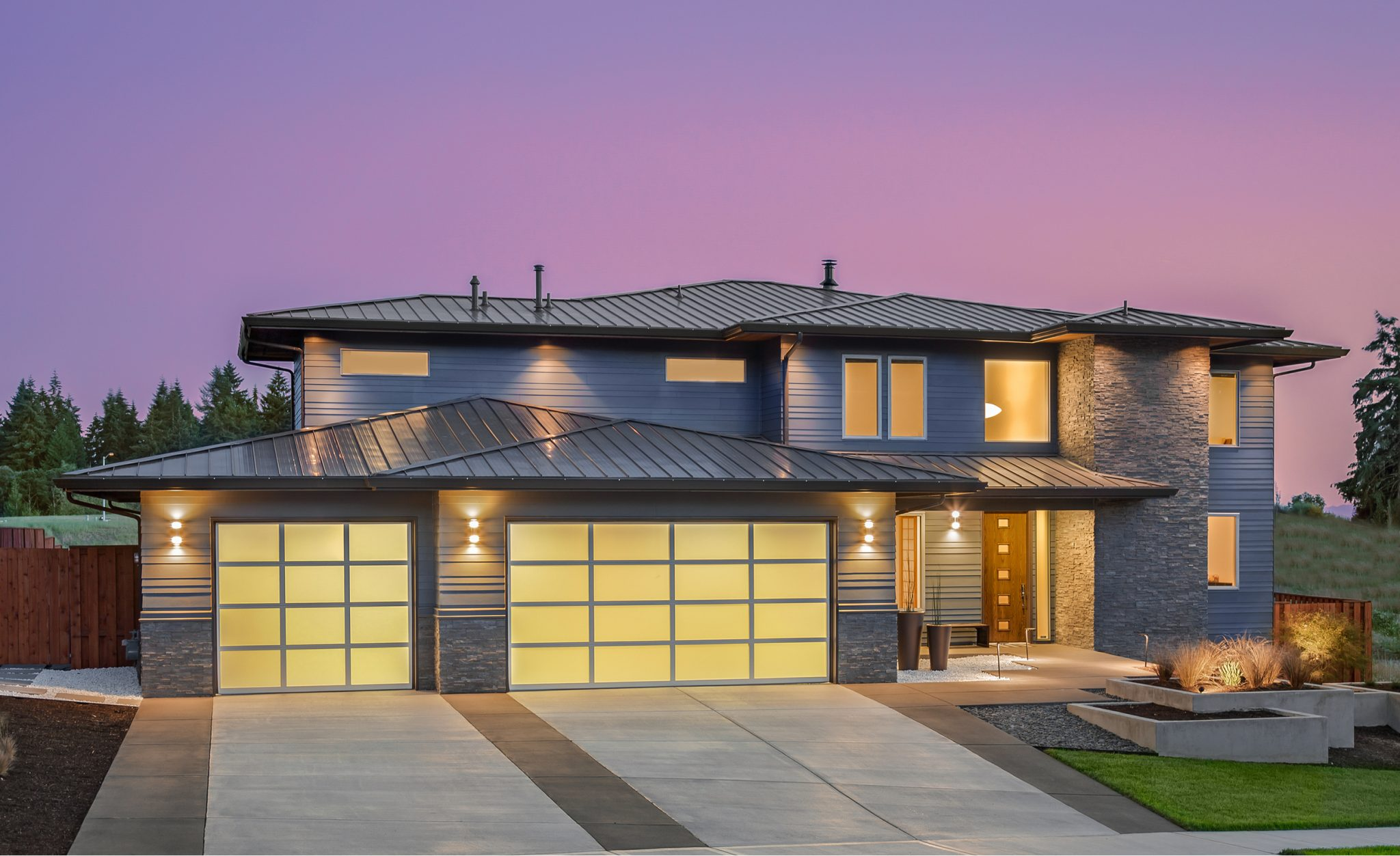 Driveway Designs for Modern Home Concrete Banding