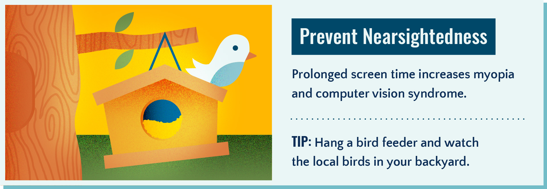 Spending time outside looking at far away objects can help prevent nearsightedness.